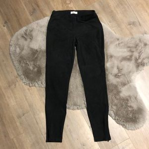 Reitmans PETITES faux suede leggings in dark grey